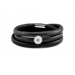 Kampagne læder armbånd Sølv