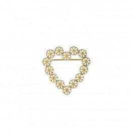Marguerit broche hjerte med  hvid emalje forgyld