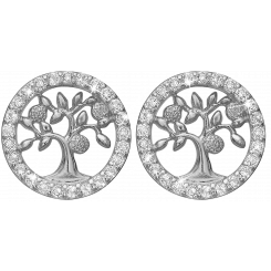 Topaz Tree of Life studs, silver