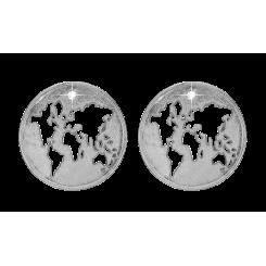 Verden, m / LG diamanter, studs, sølv