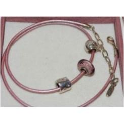 Lædersnor, pink
